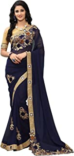 Online Fayda Women's Georgette Saree With Blouse Piece (Of303_Navy Blue)