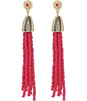 Steve Madden - Tribal Textured Cherry Pink Beaded Tassel Earrings
