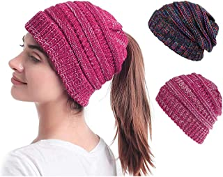 2 Pack Women's Beanie Ponytail Hats Messy Bun Beanie Tail Skull Cap Soft Ribbed Hat Winter Knit Stretch Beanie Hat