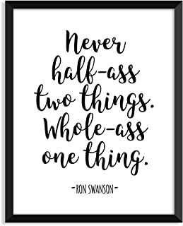 Serif Design Studios Ron Swanson - Never Half Ass, Parks and Recreation, Leslie Knope, Ron Swanson, Minimalist Poster, Home Decor, College Dorm Room Decorations, Wall Art