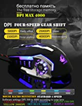 Gaming mechanical Mouse Wired [4000 DPI] [Programmable] [Breathing Light] Ergonomic Game USB Computer Mice RGB Gamer Desktop Laptop PC Gaming Mouse photoelectric Mouse, 7 Buttons for Windows 7/8/10/XP