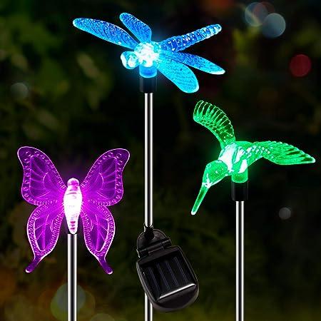 2 Set Hummingbird Clear Acrylic Solar Garden Yard Patio Lawn Stick Stake Light