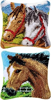 Dolity 2 Set 17x17 Inch Horses Latch Hook Rug Kit DIY Embroidery Cross Stitch Needlework for Cushion Pillow Mat