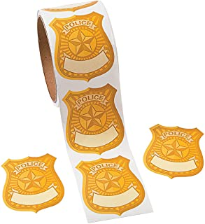 Police Badge Name Tag Stickers Roll of 100 School Party Supplies