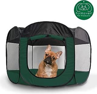 Furhaven Pet Playpen | Indoor/Outdoor Mesh Open-Air Playpen & Exercise Pen Tent House Playground for Dogs & Cats, Hunter Green, Medium