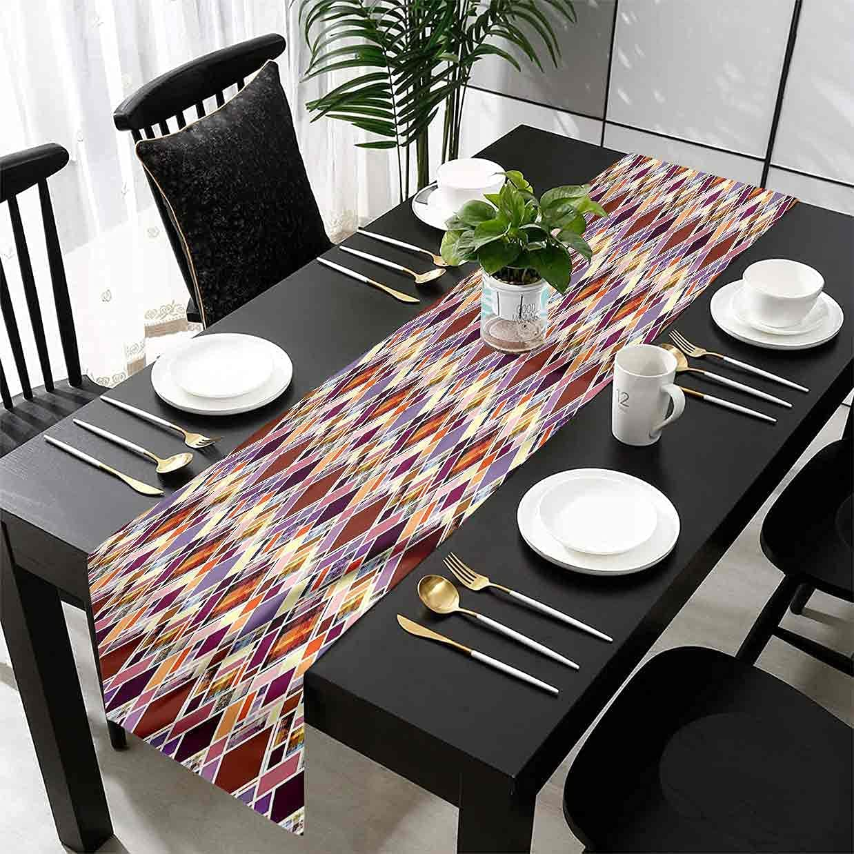 Hiiiman Geometric Table Runner Rectangles and Be super welcome Squares Rapid rise Decoratio