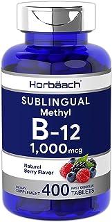 Sublingual B12 Vitamin 1000 mcg   400 Tablets   Dissolvable Natural Berry Flavored Methylcobalamin   Vegan, Non-GMO and Gl...