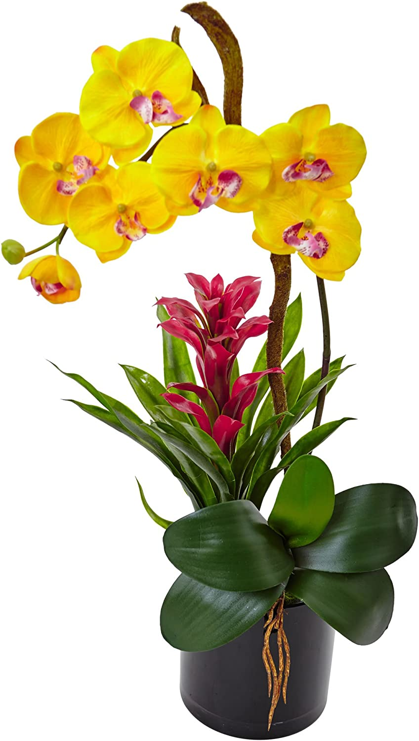 Nearly Natural 1 Orchid and Yellow Cheap mail order specialty store Ranking TOP5 Bromeliad Arrangement Silk