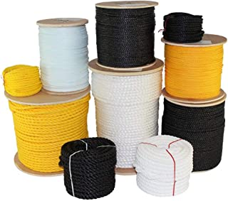 SGT KNOTS Twisted Polypropylene Rope (1/4 inch - 3/4 inch) Floating Polypro - Moisture, Chemical, Oil, Rot, UV, Acid & Alkalis Resistant - Marine, Wet Weather, Nautical, Projects (50 ft - 1200 ft)