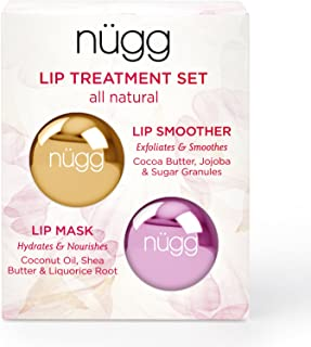 nügg Lip Care Treatment Set for Dry, Chapped Lips; Includes All Natural and Vegan Exfoliating Lip Scrub and Moisturizing Lip Mask; 2 x 7g (2 x 0.24 oz)