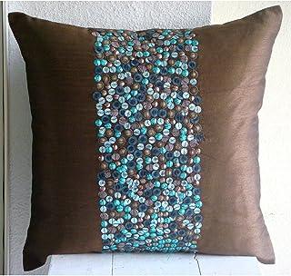 Marron Jeter Les Taies D'Oreiller, 3D Turquoise Paillettes Couverture D'Oreillers, oreiller jet couvre 45x45 cm, Soie Taie...