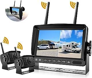 $219 » FHD 1080P 2 Digital Wireless Backup Camera System for RVs/Trailers/Trucks/Motorhomes/5th Wheels 4CH 7'' Monitor Highway Mo...