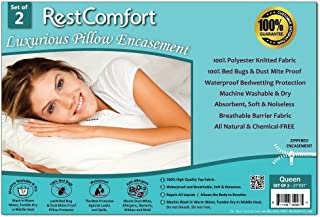 Set of 2 Bed Bug and Dust Mite Bacteria, Allergy Proof / Waterproof Pillow Protectors - Hypoallergenic Breathable and Quite - Zippered Pillow Encasement, RestComfort - Queen 21x31 by RestComfort