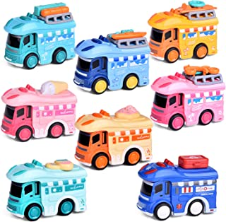 8 Pieces Toy Cars for Toddlers, Push and Go Diecast Car toys for Boys and Girls, Best Choice for Stocking Stuffers, Party Favors