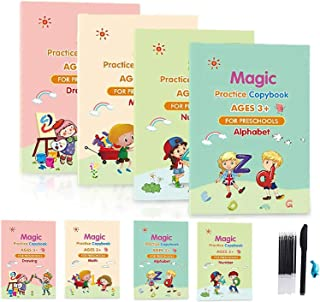 4pcs Magic Calligraphy That Can Be Reused, Magic Practice Copybook Set For Kid, Magical Copybook For Kindergarten,Includin...