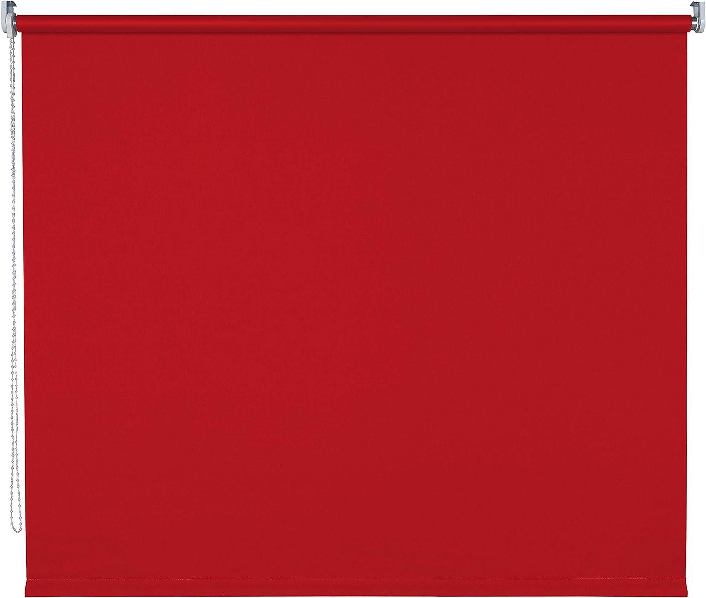 Verdunklungsrollo Fenster Tür Rollo Farbwahl Kettenzugrollo Seitenzugrollo Breite 60 - 200 cm Hhe 180 cm u. 240 cm Stoff lichtundurchlssig Metall Klemmhalter ohne Bohren (180 x 180 cm   Rot)