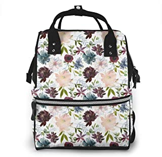 Winter Whisper Florals Multi-Function Travel Backpack Nappy Bag,Fashion Mummy Bag
