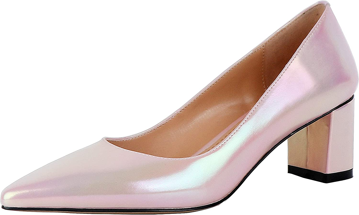 SOPHITINA Women's Max 77% OFF Block Low We OFFer at cheap prices Heel Sexy Pumps Shiny Pearl Pointed