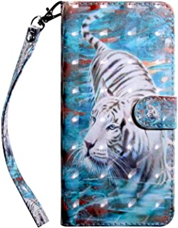 Bear Village® Huawei Honor 10 Case, PU Leather Book Style Cover with Card Slots, 3D Pattern Design Wallet Flip Case for Huawei Honor 10 (#9 Tiger)
