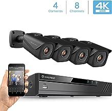 Amcrest 4K Security Camera System w/ 4K 8CH PoE NVR, (4) x 4K (8-Megapixel) IP67 Weatherproof Metal Bullet POE IP Cameras, 2.8mm Lens, Hard Drive Not Included, NV4108E-HS-IP8M-2496EB4 (Black)