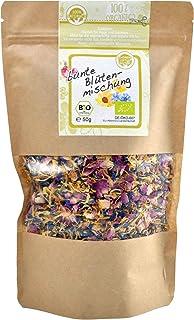 direct&friendly Bio bunte Blütenmischung - farbenfrohe Essblüten-Mischung aus Rosen-, Ringelblumen- und Kornblumenblütenblättern 50 g