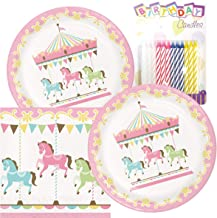 Carousel Merry Go Round Baby Girl Theme Plates and Napkins Serves 16 With Birthday Candles