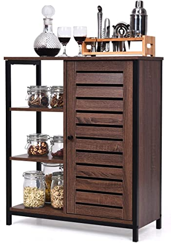 high quality Giantex discount Standing Baker's Rack, Kitchen Microwave Stand, Storage Cabinet Industrial Sideboard with 3 Shelves and Cupboard, Multipurpose Organizer for Bathroom, Living 2021 Room and Hallway (Rustic Brown) sale
