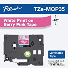 "Brother Genuine P-touch TZE-MQP35 Tape, 1/2"" (0.47"") Wide Standard Laminated Tape, White on Berry Pink, Laminated for Indo..."