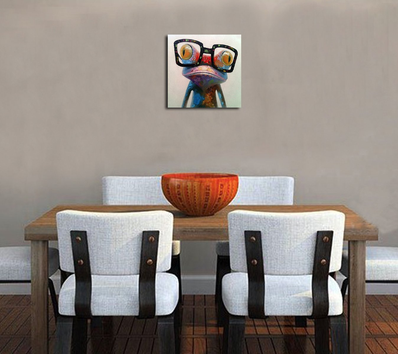 Fokenzary Hand Painted Oil Painting Pop Cute Frog with Glasses on Canvas Wall Art Framed Ready to Hang
