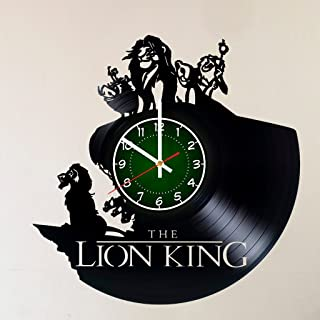 Disney Art LION KING 12 INCH/30 CM Vinyl Record CLOCK - pumba - Modern Large Walt Disney Mickey Mouse and Minnie Mouse Art - GIFT FOR GIRLS - Gift idea for children, teens, adults