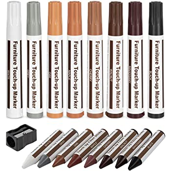 Escest Furniture Touch Up Repair 17Pc Set, Markers and Filler Sticks, Scratches Restore Kit, 8 Felt Tip Markers, 8 Filler Wax Sticks Crayons, 1 Sharpener, Fixing Wood Floors, Tables, Desks, Chairs