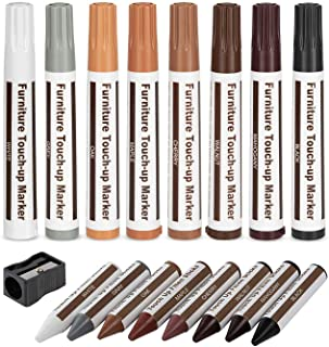 Escest Furniture Touch Up Repair 17Pc Set, Markers and Filler Sticks, Scratches Restore Kit, 8 Felt Tip Markers, 8 Filler Wax Sticks Crayons, 1 Sharpener, Wooden Scratch Cover Ups