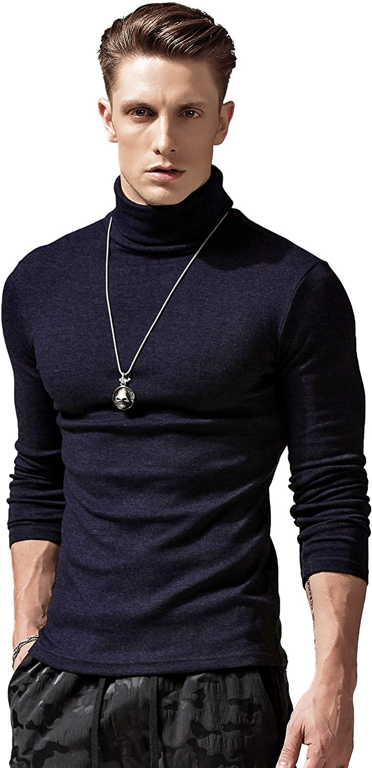 XShing Mens Long Sleeve Turtleneck T Shirts Stretchy Slim Fit Athletic Warm Sweater