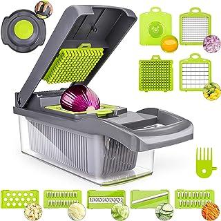 Hachoir à légumes, hachoir à oignons, hachoir manuel 12 en 1 pour aliments et fruits, mandoline réglable avec 7 lames en a...