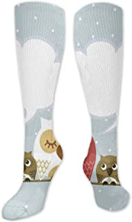 JONINOT, Manga de compresión de rodilla de 60 cm, familia de aves descansando sobre una cuerda con padre, madre, dibujos animados de guardería para niños, medias deportivas altas