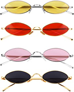 Vintage Oval Sunglasses Slender Metal Frames Glasses Candy Colors Gothic Sunglasses for Men Women (4 Colors, 4 Pairs)