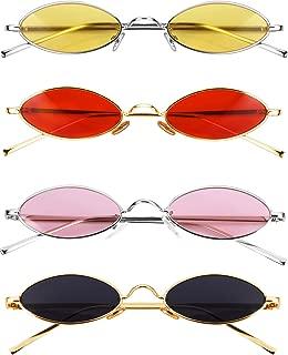 Vintage Oval Sunglasses Slender Metal Frames Glasses Candy Colors Gothic Sunglasses for Men Women