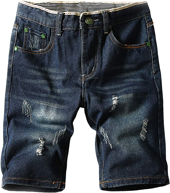 Lu's Chic Men's Jean Shorts Distressed Denim Shorts Slim Fit Ripped Cotton Knee Length Soft