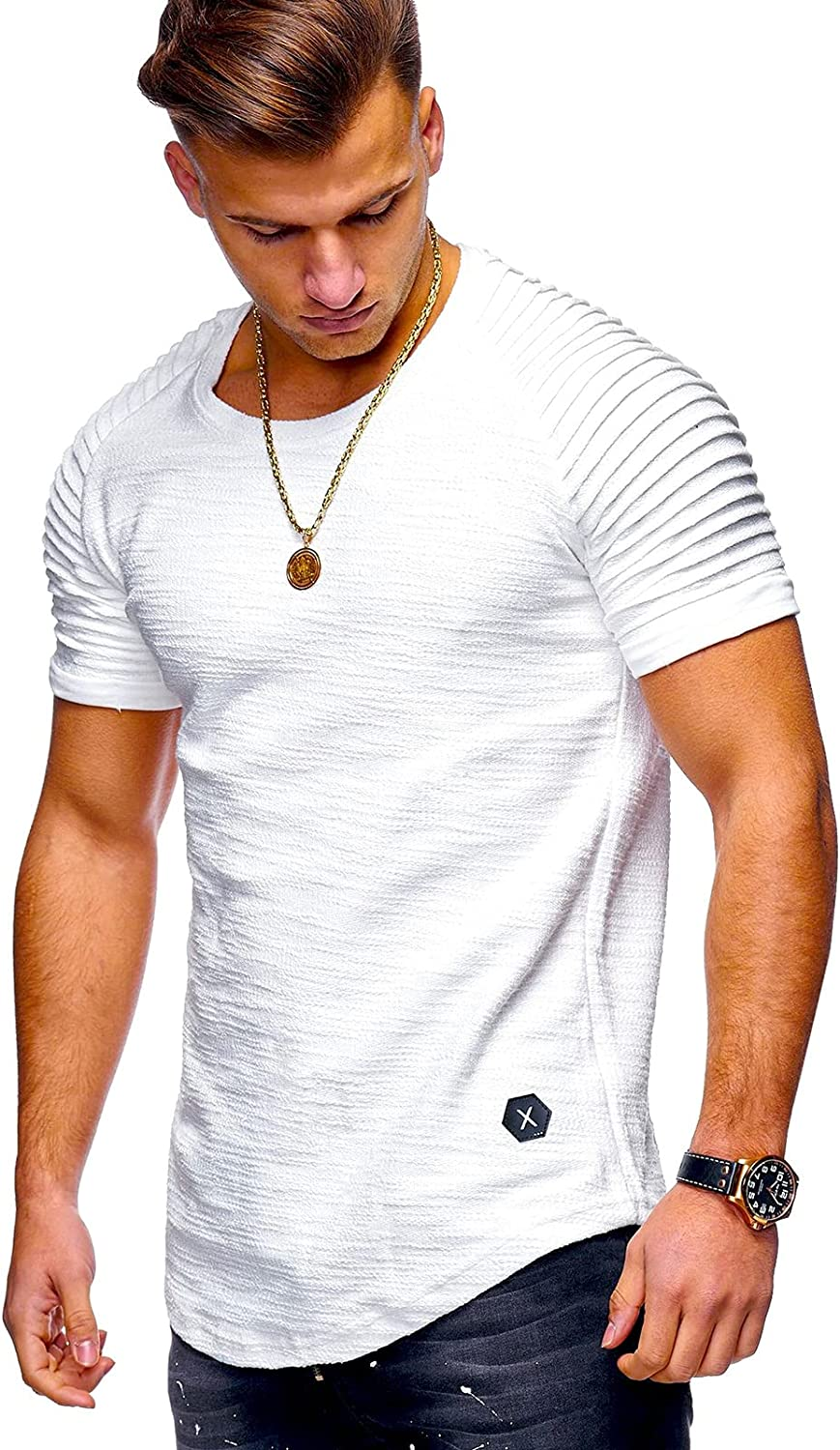 Mens Fashion Workout T-Shirts Casual Sport Athletic Pleated Fit Gym Fitness Short Sleeve Tees
