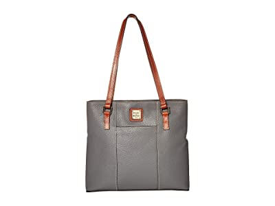 Dooney & Bourke Pebble Small Lexington Shopper (Slate/Tan Trim) Tote Handbags