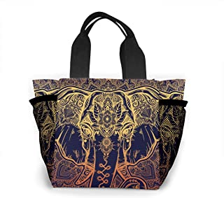 Lunch Bag - Beautiful Paisley African Elephant Food Container Organizer for Office School Work, Women Men Kids Girls Boys Lunch Holder Totebag Reusable Leakproof Grocery Container