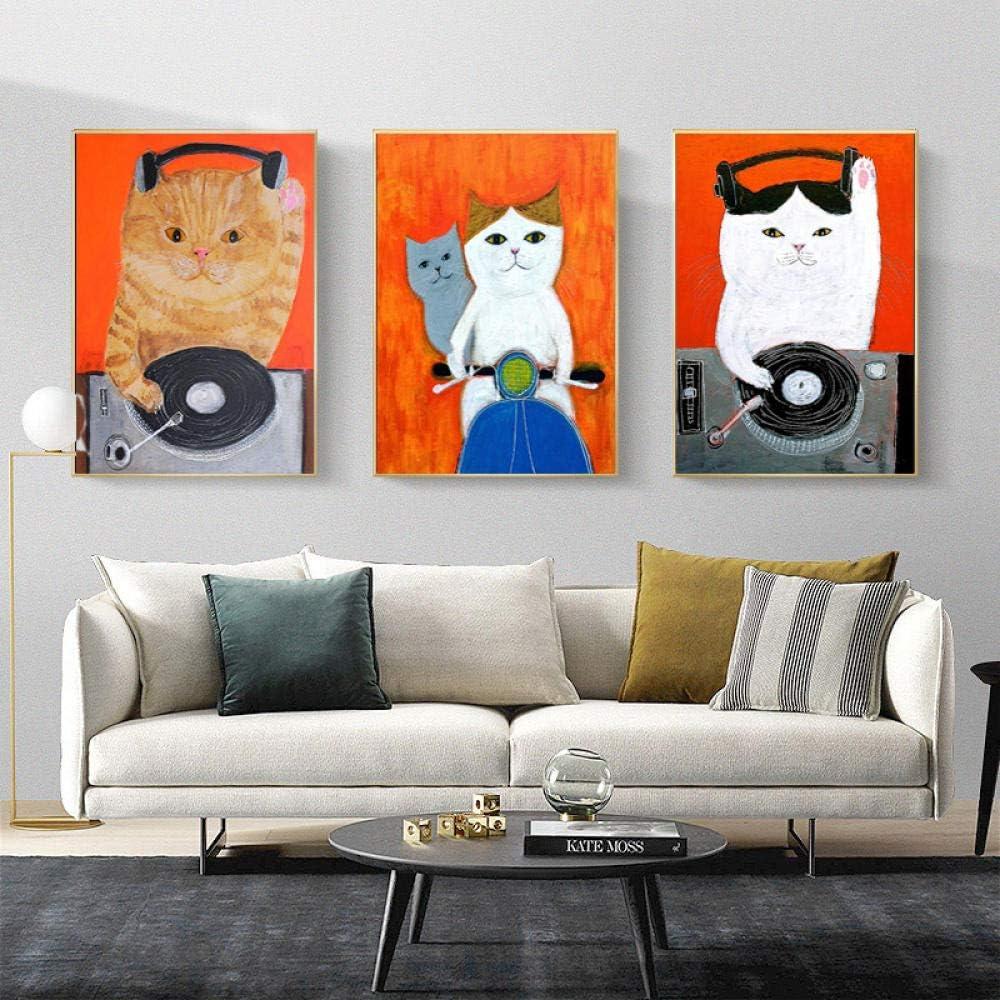 VUSMH Cartoon Animal Wall Art Ranking TOP10 Selling Painting Canvas Cat Post Music