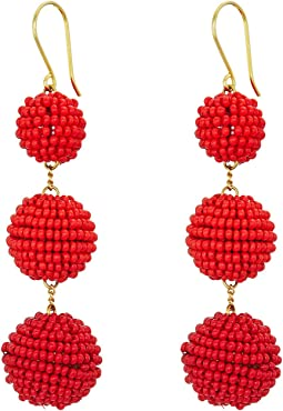 Chan Luu - 3 Tiered Seed Bead Pom Pom Earrings