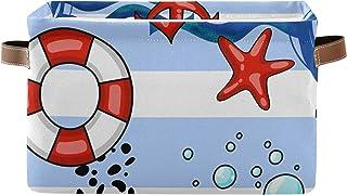 PUXUQU Panier de rangement pliable avec ancres, bouées de sauvetage, phare, étoile de mer, panier de rangement avec poigné...