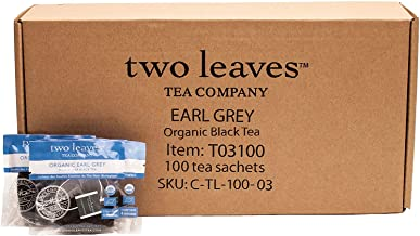 Two Leaves and a Bud Organic Earl Grey Tea Bags, Whole Leaf Black Tea in Sachets, 100 Count