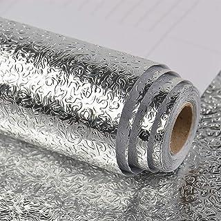 VEELIKE Kitchen Backsplash Wallpaper Peel and Stick Aluminum Foil Contact Paper Self Adhesive Oil-Proof Heat Resistant Wal...