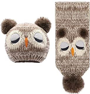 SUMOLUX Winter Kids Warm Hat Owl Animal Hats Plush Lined Knitted Coif Hood Beanies for Winter 1-4T