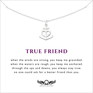 Friendship Anchor Sterling Silver Necklace - Unique Best Friend Jewelry Gift for Birthday Holiday
