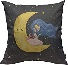 Mugod Fairy Girl Throw Pillow Cover Romantic Cute Cartoon Girl Sitting on The Moon with Stars Decorative Square Pillow Case for Home Bedroom Living Room Cushion Cover 18x18 Inch