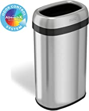 iTouchless 16 Gallon Oval Open Top Trash Can and Recycle Bin with Odor Control System, Stainless Steel Commercial Grade, Large 12-Inch Opening, for Home, Restaurant, Restroom, Office, 61 Liter